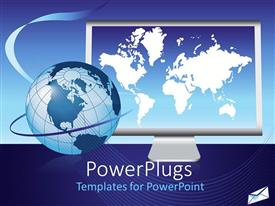 Audience pleasing PPT theme featuring blue globe in front of laptop with world map