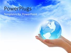 PPT layouts consisting of blue glowing globe in woman's hands over blue cloudy sky
