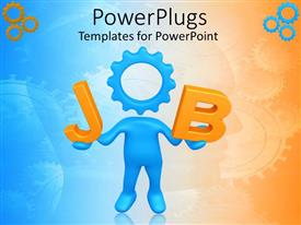 Elegant PPT theme enhanced with blue human figure with a gear head forming a JOB text