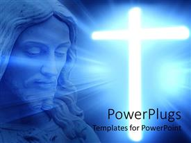 Colorful presentation having blue large depiction of Jesus and a large shinning cross
