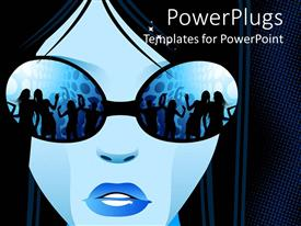 Elegant PPT layouts enhanced with blue painted female face wearing glasses showing people dancing