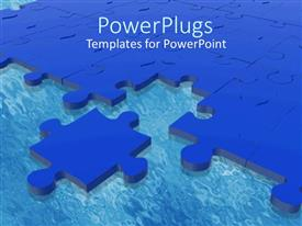 Amazing presentation design consisting of blue puzzle piece next to complete blue puzzle on blue surface