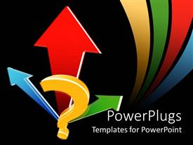 PPT theme having blue, red and green arrows with yellow question mark and colored curved lines on black background