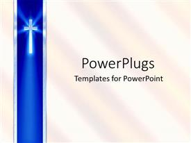 Presentation theme having blue ribbon with cross and white background