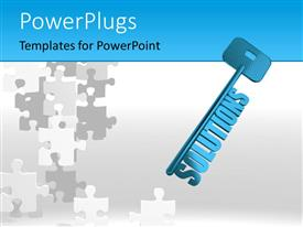 PPT layouts with blue skeleton solutions key over white surface with jigsaw puzzle
