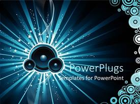 Presentation design enhanced with blue speakers in blue background with white stars and circles