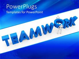 Presentation theme consisting of blue teamwork word and two figures trying to place o letter in its place
