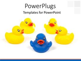 Presentation featuring blue toy duck leading others in yellow over white background