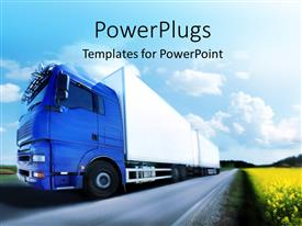 Beautiful PPT theme with blue truck running on country road, a truck transport concept