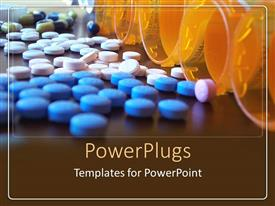 Amazing PPT theme consisting of blue and white pills on a flat surface with open containers