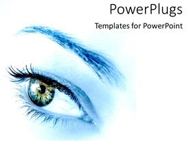 Audience pleasing PPT theme featuring blue woman's eye envisioning future as a metaphor on a white background