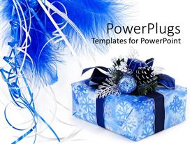 Beautiful presentation design with blue wrapped gift box with ornaments, ribbons and feathers