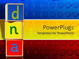 PPT layouts enhanced with blue, yellow and red wooden blocks with DNA letters on blue, yellow and red panels with DNA strands