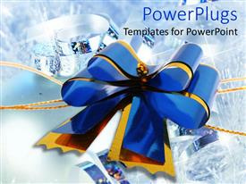 Colorful presentation having blue and yellow ribbon made into celebration bow on shiny background