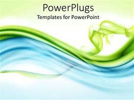 Presentation theme consisting of bluish and greenish waves with green background