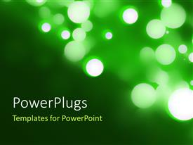 PPT theme with blurred lights Circular Bokeh on Green Background