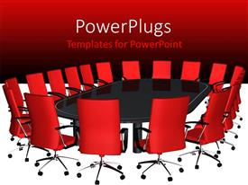 Elegant presentation enhanced with boardroom with big black conference table and red seats