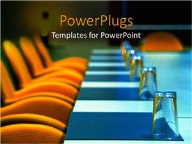 PPT theme featuring boardroom with orange seats, blue table and well placed glasses
