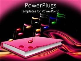 Audience pleasing theme featuring a book related to music with dark background