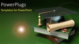 PPT theme having books, graduation degree and graduation hat over green background