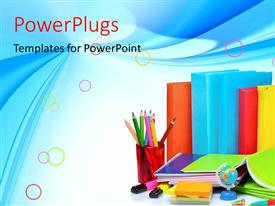 Presentation enhanced with learning depiction with colorful books and learning materials on blue background