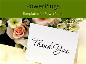 Audience pleasing slide set featuring bouquet of flowers with a thank you card