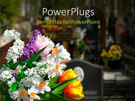 Slides enhanced with bouquet of multicolor Flowers with cemetery
