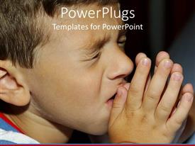 PPT theme enhanced with a boy praying with blackish background