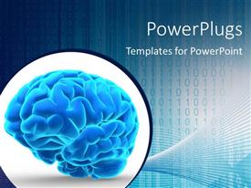 Beautiful PPT theme with a brain in bluish color with binary numbers in the background