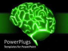 Presentation theme enhanced with a brain with greenish background and a number of bullet points