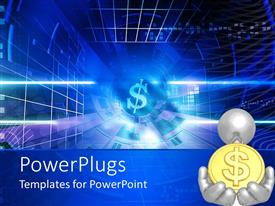 Beautiful PPT theme with bright blue dollar sign down blue passageway