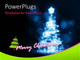 Audience pleasing PPT theme featuring a bright colored Christmas tree on a blue blurry background