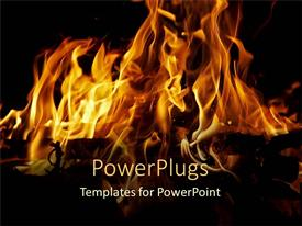 PPT layouts consisting of bright orange flames on dark background