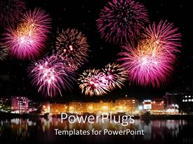 Presentation theme consisting of bright pink and purple celebratory fireworks over brightly lit city next to calm reflective water