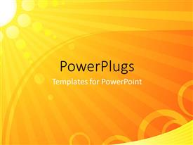 Elegant PPT theme enhanced with bright yellow sun with orange circles and rays