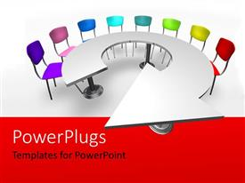 Elegant slide deck enhanced with brightly colored chairs arranged around round arrow shaped table