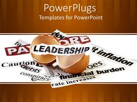 Presentation design with broken eggshell with leadership word on small white paper piece and paper pieces with financial related words on white background