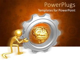 Elegant PPT theme enhanced with bronze figure pushing gigantic gear with bronze brain at center