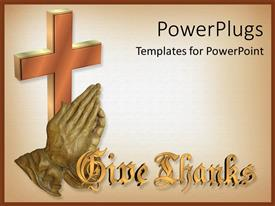 Colorful presentation design having bronze sulpture of hands giving thanks with 3D cross