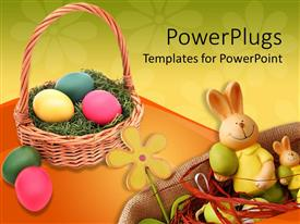 Amazing PPT layouts consisting of a brown basket filled with colorful ester eggs and an ester bunny
