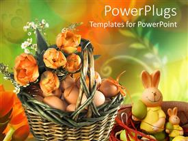 Presentation theme enhanced with brown basket with lots of eggs with a bunch of flower