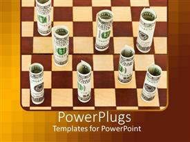 Elegant PPT layouts enhanced with brown and cream colored chess board wit rolled up dollar notes as chess pieces