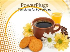 Presentation design consisting of a brown cup of coffee beside some biscuits and flowers