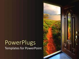 Colorful PPT theme having brown door open to a dirt path with grass