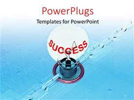 PPT theme with a bulb with a bluish background and place for text