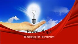 Beautiful presentation theme with glowing light bulb in hand over blue cloudy sky