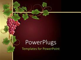 PPT theme having a bunch of grapes with maroon background