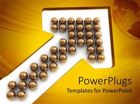 Presentation enhanced with bunch of reflective gold spheres arranged in upward pointing arrow on white background