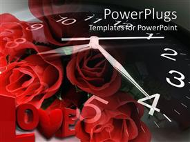 PPT theme with a bunch of roses and a clock background spelling out the text