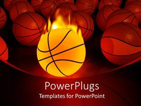 Amazing presentation consisting of burning basketball ball and multiple basketballs on red background